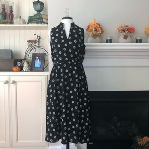 Anne Klein Black & White Floral Midi Dress Size 4